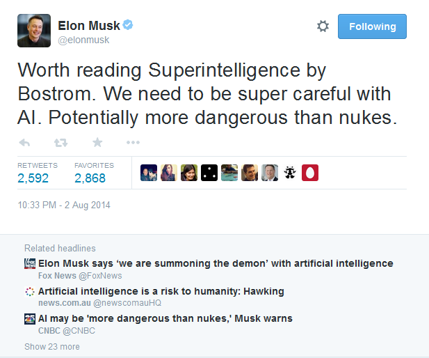 Musk tweets AI