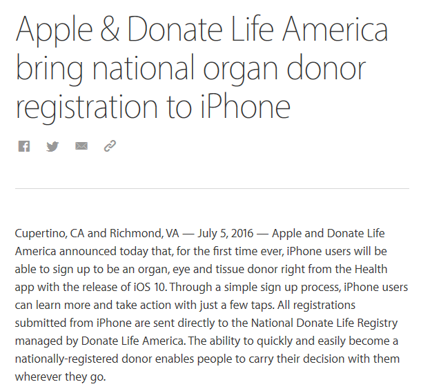 Apple and Donate Life